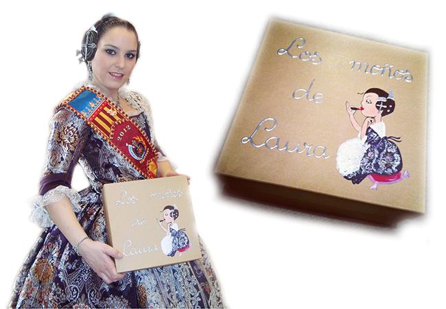 Caja moños fallera regalo para la Fallera Mayor de Espartero 2012 Laura Naharros